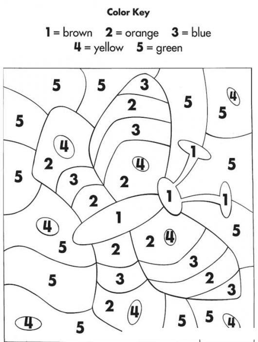 Dibujo Para Colorear Por Numeros En Ingles 1 Es Cafe 2 Es Naranja 3