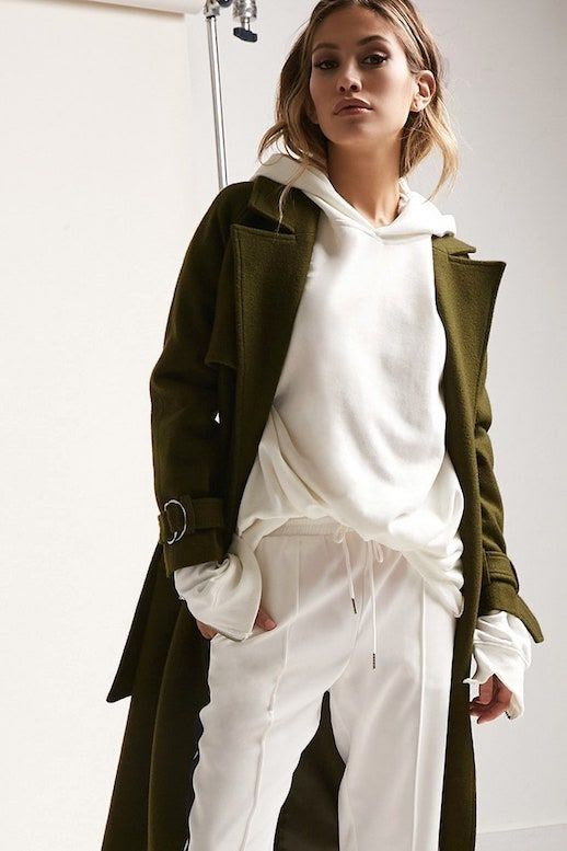 How To Wear Hoodie Trend Classic Coat White Track Pants Forever21 Layered Fall Look Le Fashion Blog