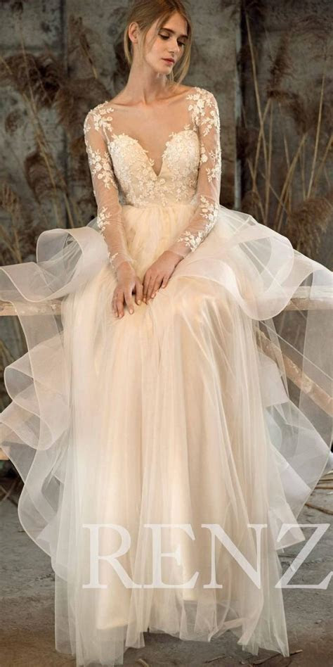Wedding Dress Off White Tulle Dress,Long Sleeve Lace Bride