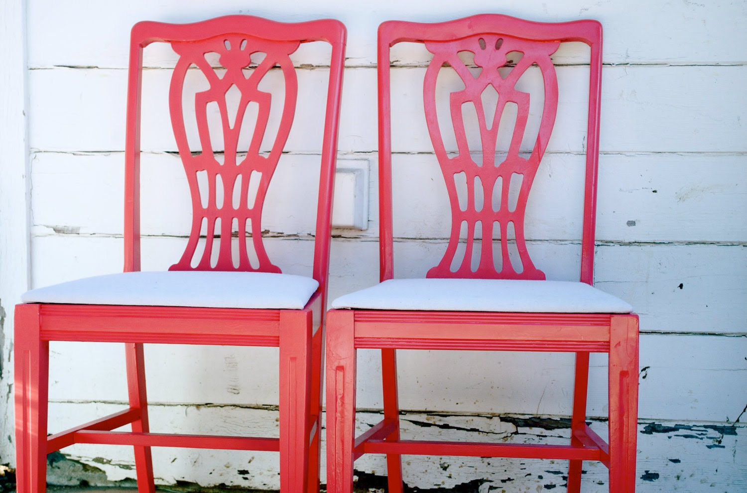 Reserved: Cozy in Coral Bright Painted Dining Chairs