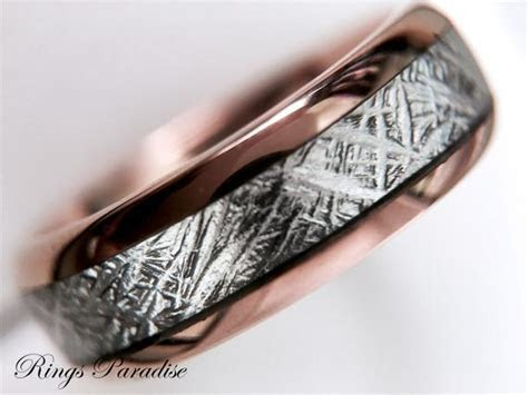 Rose Gold Wedding Bands with Imitated Meteorite Inlay