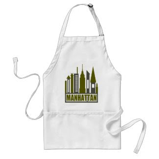 Manhattan Skyline With Cutouts, Gray & Green apron