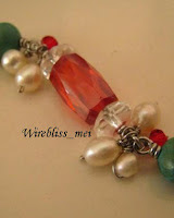 Wire wrapped bracelet - red themed