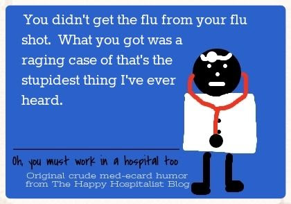 You didn't get the flu from your flue shot.  What you got was a raging case of that's the stupidest thing I've ever heard ecard humor photo.