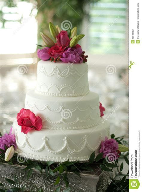 Wedding Cake With Flower Topper Stock Photography   Image