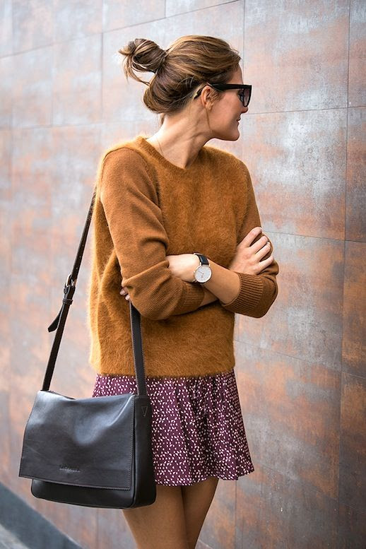 Le Fashion Blog Blogger Spring Style Top Knot Brown Fuzzy Sweater Leather Crossbody Bag Red Print Skirt Via Style Lovely