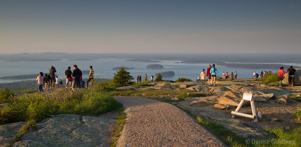 crowds on top of Cadillac Mountain, Acadia National Park