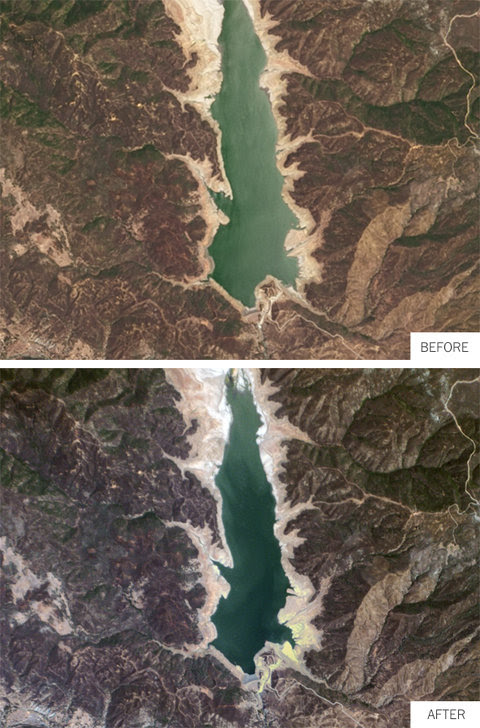 The effects of drought over a year at a reservoir in Lake County, Calif.