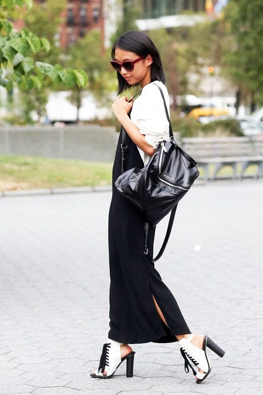 Le Fashion Blog Blogger Street Style Pink Sunglasses Black And White Combo Color Block Long Dress Lace Up High Chunky Heel Sandals Leather Backpack Nyfw Via Popsugar
