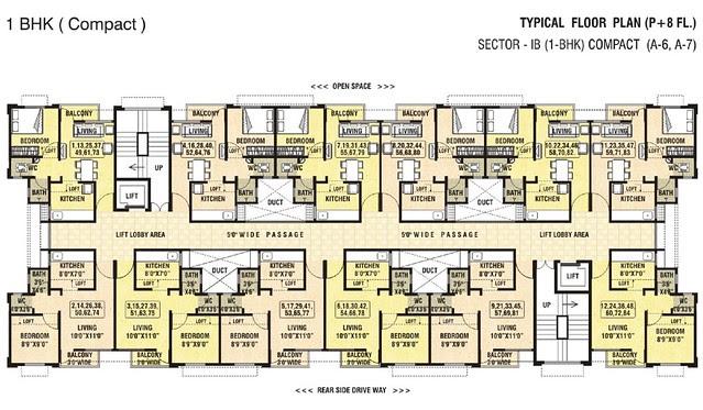 Dwarka Chakan - Sector 1B - 1BHK Flat - Compact A 7 Floor Plan