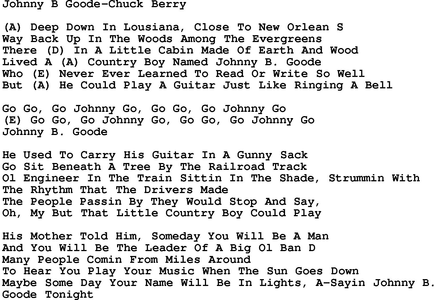 Johnny B Goode Chords