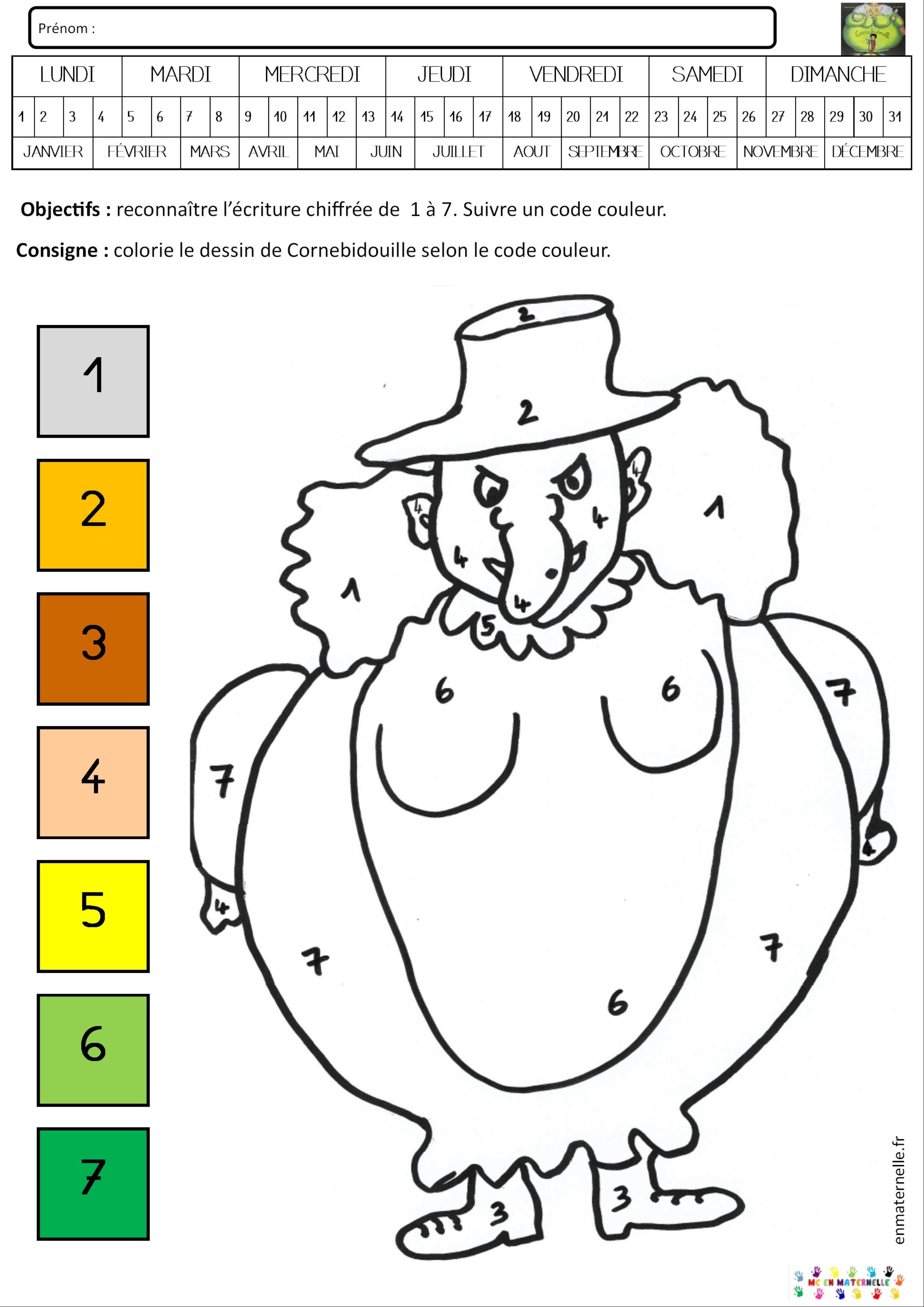 Cornebidouille Coloriage Magique De 1 à 7 Mc En Maternelle