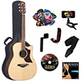 Yamaha A1R Acoustic-Electric Guitar with Yamaha Hard Case and Legacy Kit (Tuner, Picks, DVD and More)