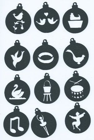 12 days of Christmas ornament set 2 set of twelve by hilemanhouse, $2.49