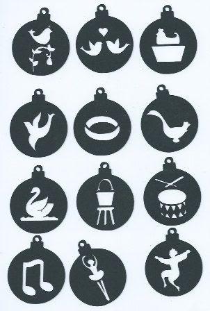 12 days of Christmas ornament set 2 set of twelve by hilemanhouse, $2.49