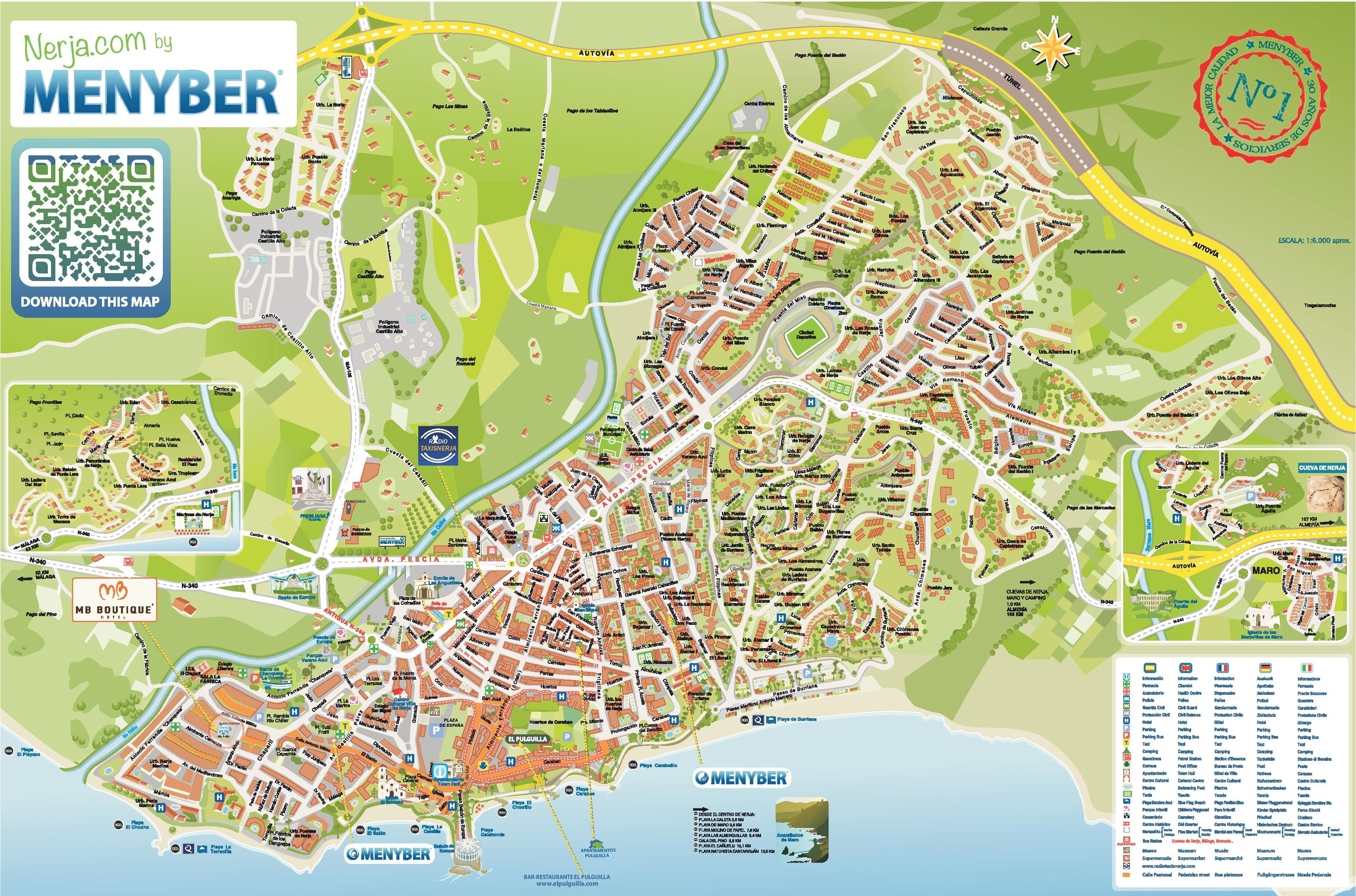 nerja hotels and sightseeings map