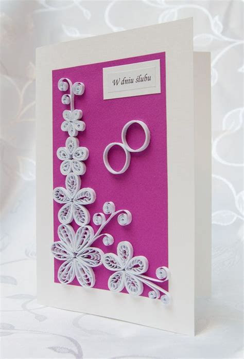 Unique, handmade Wedding card   quilled white flowers and