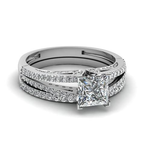 Split Princess Cut Diamond Wedding Ring Set In 14K White