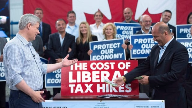 Conservative Leader Stephen Harper on Tuesday repeated a weekend stunt in which he added up the purported impact of the Liberal platform on the finances of everyday Canadians.