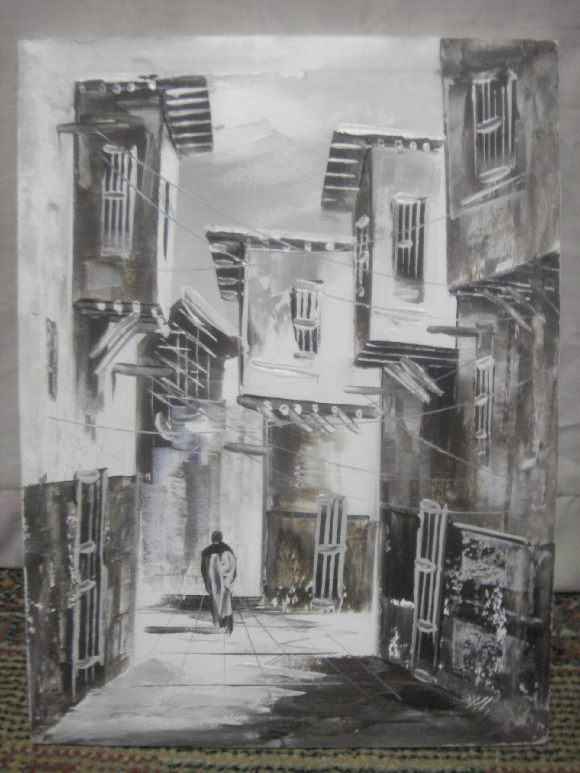 lukisan pemandangan kota hitam putih - Pemandanganoce