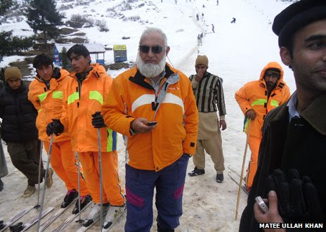 Matee Ullah Khan (centre) is seen here on the slope