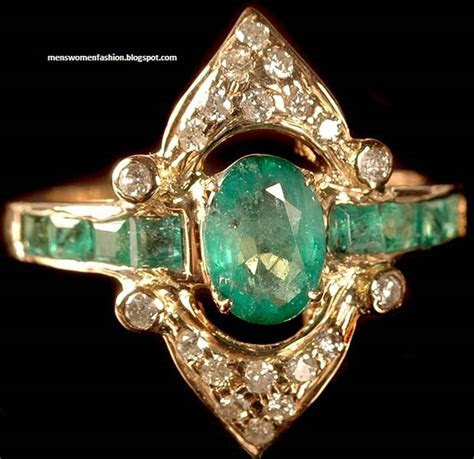 Emerald Indian Wedding Rings 21k Gold Jewellery Collection
