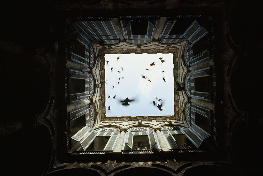 A Flock Of Birds Fly Up From An Enclosed Courtyard In Old Havana, December 1987