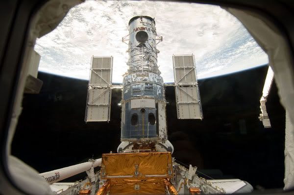 The HUBBLE SPACE TELESCOPE after it is docked with space shuttle ATLANTIS on May 13, 2009.