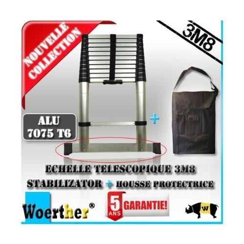 echelle telescopique avec barre stabilisatrice housse de. Black Bedroom Furniture Sets. Home Design Ideas