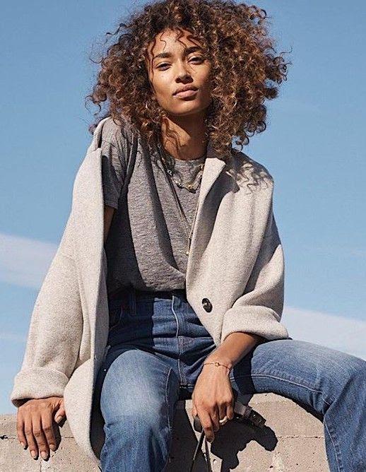 Le Fashion Blog Winter Wardrobe Basics On Sale T Shirt Grey Coat Basic Jeans Via Madewell