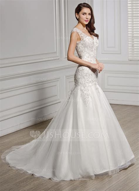 Trumpet/Mermaid V neck Court Train Tulle Lace Wedding