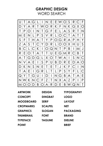 Graphic Design Wordsearch by aloni - Teaching Resources - Tes