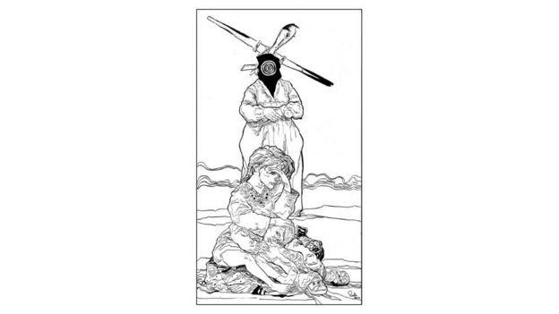 Mulher abraçada a criança no chão e, atrás dela, a figura da morte com um avião ao fundo