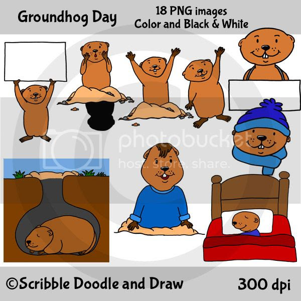 Groundhog day clipart for teachers to use when making printables