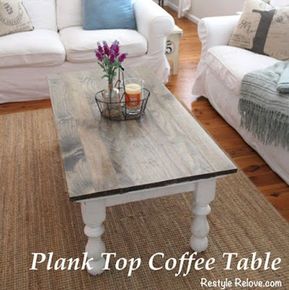 plank top coffee table