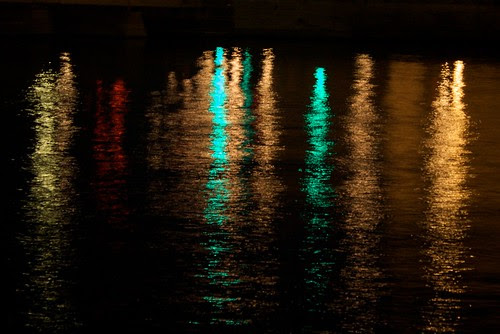 Lights of the city on water