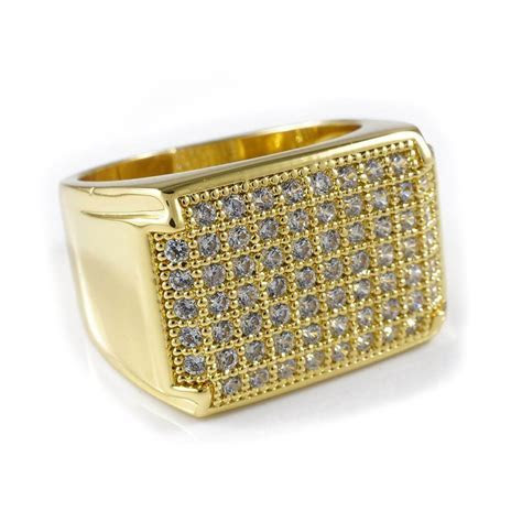 18K Gold Iced Out Wedding Pinky Ring ? Niv's Bling