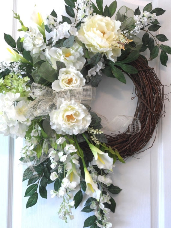 White Spring Summer Peony Wreath for sale