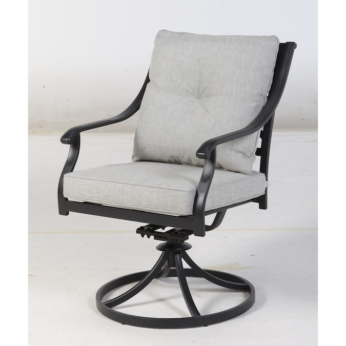 Style Selections Elliot Creek Set Of 2 New Slate Metal Swivel Rocking Chair S With Gray Olefin Cushioned Seat In The Patio Chairs Department At Lowes Com
