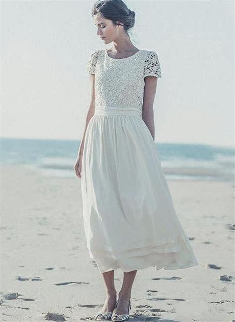 2019 Tea Length Wedding Dresses Boho Lace Top Short