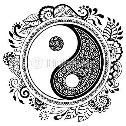 Mandala Del Tatuaje De Vector Henna Símbolo Decorativo Del Yin Y El