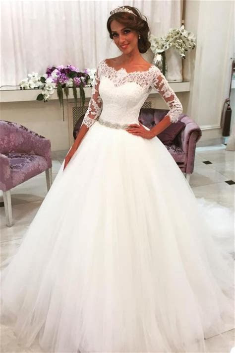 Lace Half Sleeves Ball Gown Wedding Dresses Scalloped