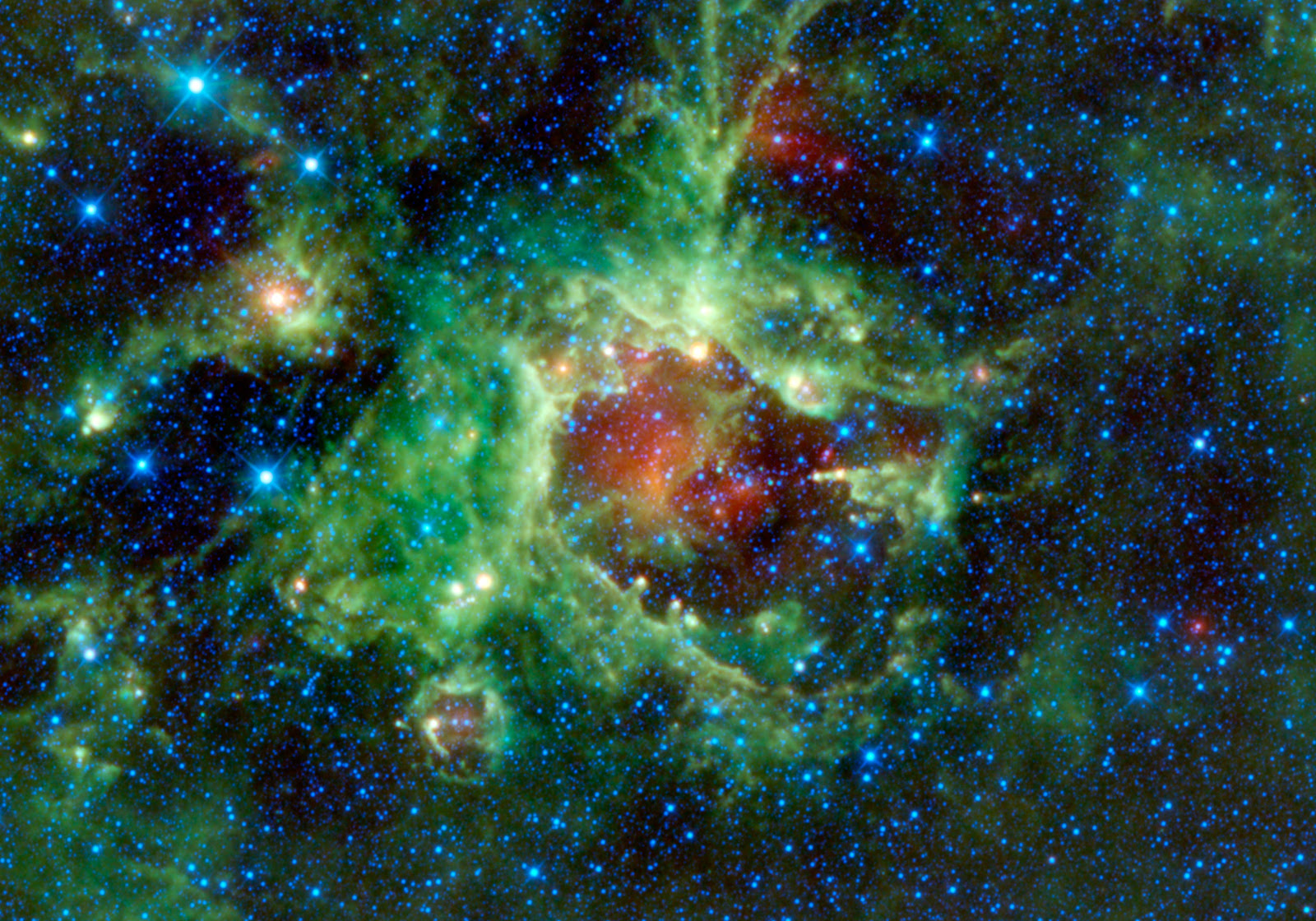 Red And Green Space Nebula