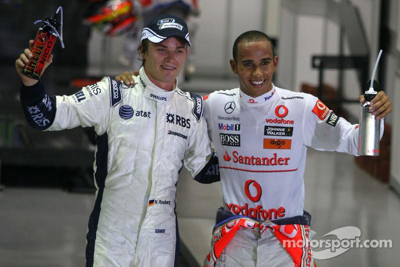 Nico Rosberg, Williams F1 Team and Lewis Hamilton, McLaren ...