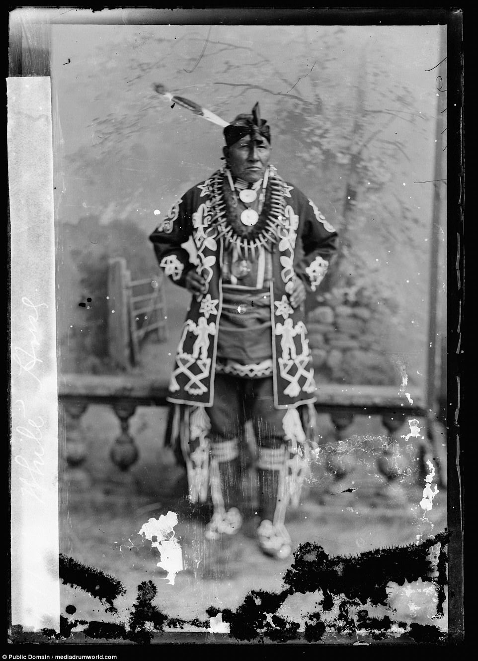 White Horse, chief of the Kiowa people, in 1894. Most of the pictures were taken between 1865 and 1915