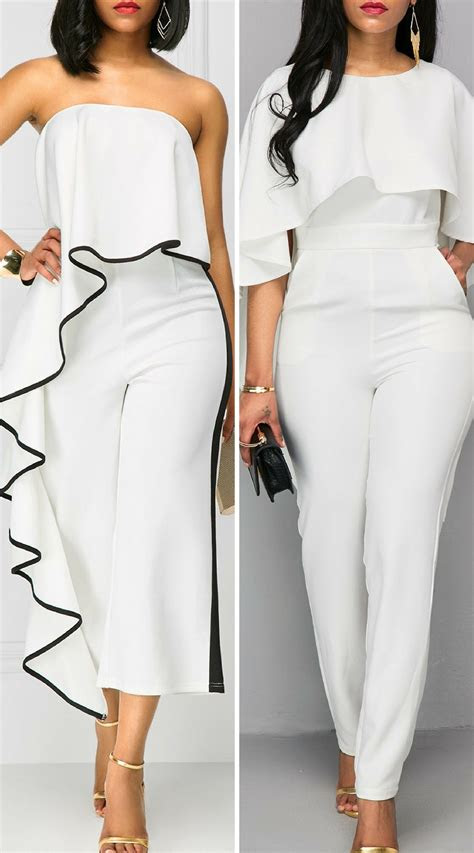 elegant white jumpsuits  wedding   guest check