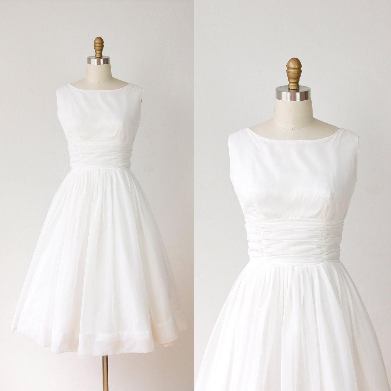 1950s Full Skirt Wedding Dress White Chiffon Vintage