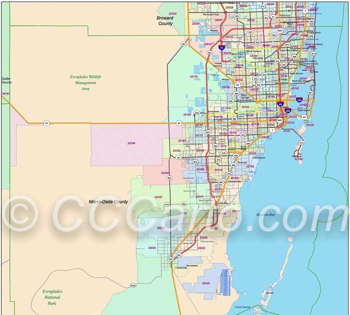 miami dade zip code map - maping resources