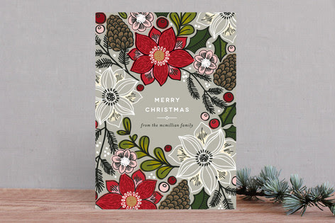 Poinsettias and Pinecones Holiday Non-Photo Cards