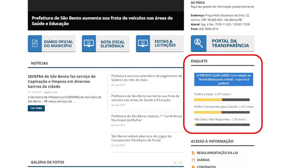 Enquete está sendo feita no site oficial da prefeitura de São Bento, na Paraíba (Foto: Reprodução/Site da prefeitura de São Bento)